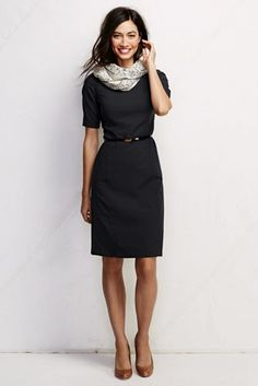 Women's Short Sleeve Washable Wool Dress from Lands' End