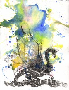 Mythical Dragon Watercolor Painting Original by idillard on Etsy