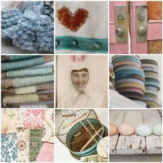 "https://flic.kr/p/9jehi6 | flickr faves---the easter bunny | 1. Vintage Bridesmaid Gloves, 2. stitching a sampler, 3. Old pink doors, 4. green/white, 5. Bunny , 6. Pretty Vintage Seam Binding, 7. sampling of incredibly beautiful vintage wallpapers from ""under the red roof"", 8. Old Birdcage, 9. Simply Country"