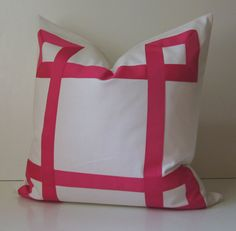 White and Pink Cotton Pillow Cover - 20 - 22 - 24 or 26 inch - Decorative Pillow - Fuchsia Pink - euro sham -  made to order