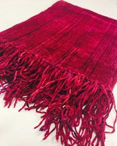Woven Rayon Chenille Fuchsia Scarf by Claire Perrault