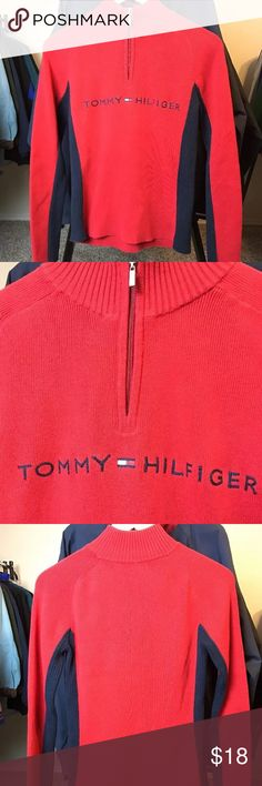 Tommy Hilfiger Sweater Has the spell out across the chest. Very warm sweater with a quarter zip. Women's size M. Great condition, no flaws. Tommy Hilfiger Sweaters