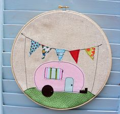 Pink camper wall hanging with flag banner framed embroidery hoop. Pink RV camper with colorful pennant bunting. Cotton fabric machine stitched to linen. Wooden Embroidery Hoops, Embroidery Hoop Art, Sewing Crafts, Sewing Projects, Projects To Try, Sewing Kits, Fabric Crafts, Hand Sewing, Craft Projects