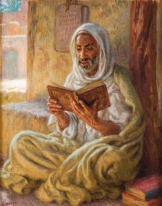 Reading the Quran by Etienne Dinet (Nasreddine Dinet). Islamic Paintings, Indian Art Paintings, Art Arabe, Art Amour, Arabian Art, Art Antique, Plastic Art, Historical Art, Arabian Nights