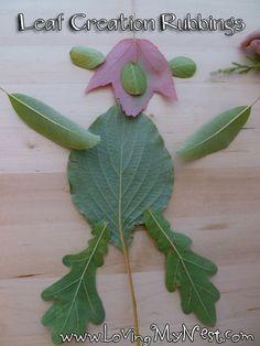 Leaf Creation Rubbings--Great to pair with Lois Elhert's Leaf Man story
