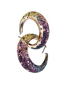 DeGrisogono yellow gold and multi-stone hoops. Why not? 212 872 2570