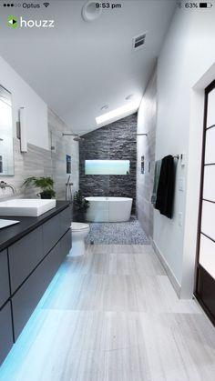 long narrow bathroom double shower and vanity glass wall to create wet room window - Bathroom Ideas Long Narrow Space