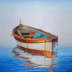 Horacio Cardozo, hyperrealist art by Horacio Cardozo, hyperrealism… Old Boats, Small Boats, Boat Art, Boat Painting, Wooden Boats, Watercolor Landscape, Painting Techniques, Belle Photo, Sailing