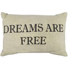 Park B. Smith ''Dreams Are Free'' Throw Pillow (Black) ($30) ❤ liked on Polyvore featuring home, home decor, throw pillows, black, black toss pillows, black accent pillows, black home decor and black throw pillows