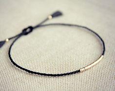 Lucia silk friendship bracelet / black / gold silk bracelet by Riemke, . - Lucia silk friendship bracelet / black / gold silk bracelet by Riemke, …, bracel - Diy Bracelets Easy, Bracelet Crafts, Handmade Bracelets, Jewelry Crafts, Handmade Jewelry, Cute Jewelry, Beaded Jewelry, Jewelry Accessories, Jewelry Design