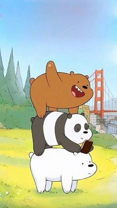 Image about panda in We bare bears 🐻🐼✨ by G o l d_R a i n* ヽ(・∀・)ノ Cute Disney Wallpaper, Kawaii Wallpaper, Wallpaper Iphone Cute, Wallpaper Backgrounds, We Bare Bears Wallpapers, Panda Wallpapers, Cute Cartoon Wallpapers, Ice Bear We Bare Bears, We Bear