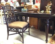 """TOMMY BAHAMA by Lexington writing desk and chair. Note the pineapple detail in the turned legs. Chinese Chippendale style rattan chair is the same rich, dark finish. Desk: 54"""" x 28"""" x 31"""" SOLD"""