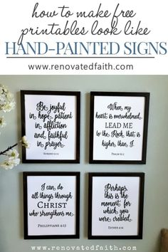 The Easy Way to Make DIY Painted Signs (Free Scripture Printables) diy-faux-scripture-wall-art Scripture Wall Art, Scripture Verses, Healing Scriptures, Healing Quotes, Scripture Crafts, Bible Scriptures, Printable Bible Verses, Printable Wall Art, Home Renovation
