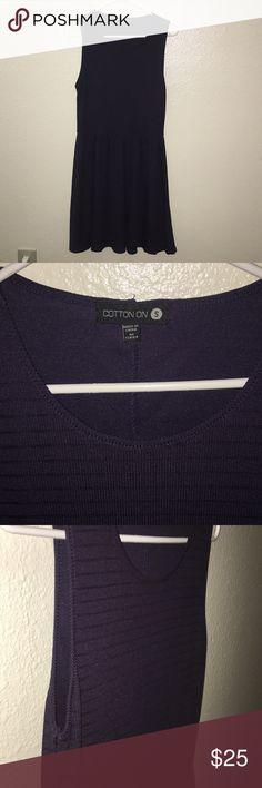 Cotton On navy blue striped skater dress This is a very cute skater dress from Cotton On! It is a size Small but it can fit an x small with a belt and most likely fit a medium. It is a navy blue color with darker blue stripes. It is not see through and is pretty opaque color. Worn once, but basically brand new. Cotton On Dresses Mini