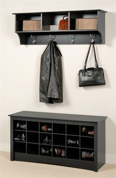 Entryway Wall Mount Coat Rack w Shoe Storage Bench in Black