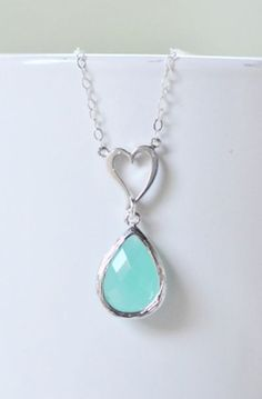Jessica would like this I think Silver Heart Charm Pendant and Aqua Teardrop Necklace