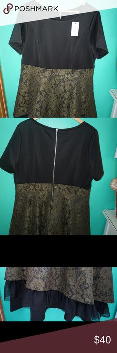 Black & Green scuba dress Never worn, black and green scuba dress. Heavy material. Runs true to size Eloquii Dresses