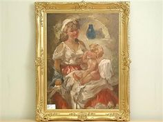 Artist Charles Antal Roka - FindArtinfo Antique Paint, Mother And Child, Modern Art, Sculptures, Auction, Monogram, Paintings, Watercolor, Antiques