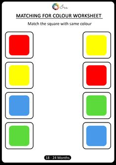 Check out this matching for colours worksheet for your month). This has been designed keeping in mind age-appropriateness and understanding of the child at this stage. Therefore we have introduced the 4 basic colours. Color Worksheets For Preschool, Matching Worksheets, Preschool Colors, Kindergarten Math Worksheets, Preschool Learning Activities, Free Preschool, Color Activities, Charts For Kids, History Education