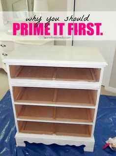 How to paint laminate furniture in 3 easy steps! Amazing tips!  Primer will adhere to the laminate, and it will create a surface that your paint can adhere to. It will keep your paint from scratching or peeling off, it will cover up the wood stain, and it will even cover up that musty smell old furniture tends to have.The primer I usually use is Zinsser primer (affiliate link). I've also used Kilz, and it works really well, too.  it's good for adhesion.