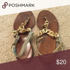 Tan and Gold Leather Sandals Size 5.5-6. Lightly worn. Shoes Sandals
