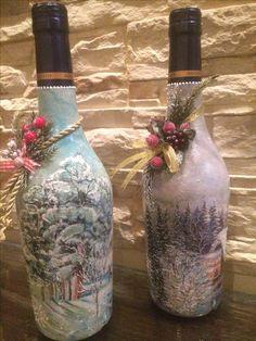 Decoupage, Holiday Ideas, Bottles, Diy Ideas, Home Decor, Perfect Nails, Christmas, Craft, Decorating Bottles