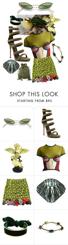 """""""beetle juice"""" by blackpool ❤ liked on Polyvore featuring Giuseppe Zanotti, Jean-Paul Gaultier, Christopher Kane, VOJD Studios and Hunting Season"""