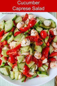 Cucumber Caprese Salad Recipe. A beautiful and delicious take on a traditional Caprese Salad, this Cucumber Caprese Salad Recipe is a perfect side dish with steak, burgers, turkey legs, barbecue chicken and more! Easy to make, this Cucumber Caprese Salad recipe is loaded with sweet, fresh vegetables. Try it today!