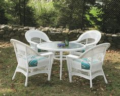 Outdoor Wicker Dining Set of 5: Cape Cod Style via @wickerparadise #diningsets #wicker #outdoorwicker #outdoorwickerdining #roundtables www.wickerparadise.com