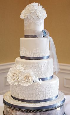 Beautiful Chantilly lace wedding cake ~ all edible including the sugar brooch