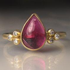 Pink Tourmaline Ring, Pink Tourmaline Cluster Ring,  Rubellite and Diamond Ring, 14k Gold Pink Tourmaline Ring
