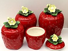 3 D Strawberry 4 piece Canisters Set 83501 Sale Strawberry Patch, Strawberry Fields, Strawberry Jam, Strawberry Recipes, Strawberry Shortcake, Strawberry Dress, Strawberry Kitchen, Kitchen On A Budget, Kitchen Items
