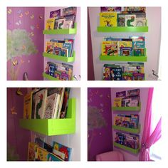 "Book shelves for kids room Tinkerbell colors... Made by hand!   3  long 6' pieces of wood.. Cut them to 24"" each (that's the length of the shelf) the Back piece is  8"" front piece is 4"" and bottom piece is about 5""or 6"" The thickness of the wood is 1"""