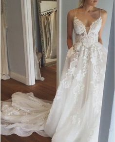 Sexy Deep V neck Wedding Dress,Lace Wedding Dress,Open Back Bridal Dresses,Spaghetti Straps Wedding Gown,Beach Wedding Dress,bridal dresses
