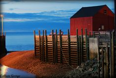 The red shed at Hall's Harbour as a Spring night creeps in...low tide, still & quiet...pure bliss!