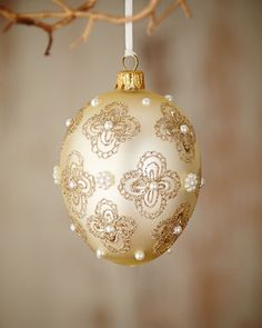 Gold & Glitter Collection Ivory Egg with Glitter Flowers Ornament