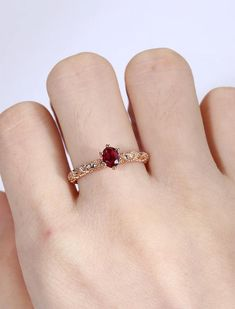 Items similar to Rose gold engagement ring women Ruby engagement ring Vintage Half Eternity band antique diamond Stacking Bridal Promise Anniversary gift on Etsy Ruby Engagement Ring Vintage, Vintage Engagement Rings, Diamond Engagement Rings, Indian Engagement, Wedding Engagement, Oval Engagement, Ring Set, Ring Verlobung, Ringe Gold