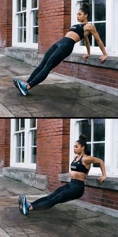 Make the most of your workout by using your surroundings. Moves like a Tricep Dip can be done practically anywhere. Place hands facing forward and bend at the waist, keeping shoulders back and elbows bent. Click for more style inspiration.