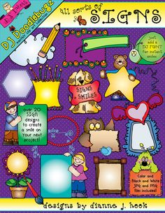 Introducing the newest member to the 'Doodlebugz' collection: 'All Sorts of Signs!' Each of these clip art images were designed to write on or help you frame-up your words... just add a DJ font for extra smiles!