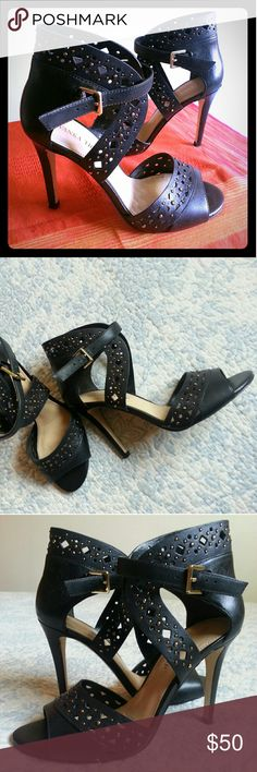 Shoes high Heels Near new.  Wrap around ankle buckle.  Studded. 4 plus inches high. Ivanka Trump Shoes Heels