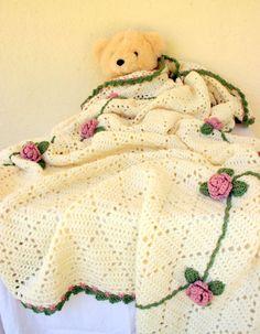 Crochet afghan rose trellis off white pink green king size bedding throw blanket diamonds home decor flowers leaves vines cream old style
