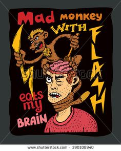 Mad monkey with flash eats my brain vector illustration on black background. T-shirt illustration. Poster illustration. Tattoo illustration.