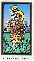 The Chariot (St. Christopher) - Tarot of the Saints by Robert M. St Bridget Of Sweden, Tattoo Prague, The Chariot Tarot, Sacred Art Tattoo, Saint Robert, Book Of Saints, Epic Of Gilgamesh, Tarot Major Arcana, Tarot Reading