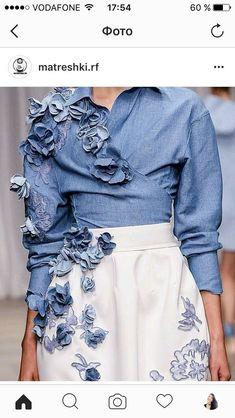 38 new Ideas for embroidery dress fashion embellishments Couture Details, Fashion Details, Fashion Design, Embroidery Fashion, Embroidery Dress, Diy Vetement, Mode Jeans, Denim Ideas, Denim Crafts