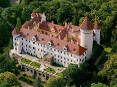 Konopiště castle from the air, Czechia #castle #chateau #Czechia