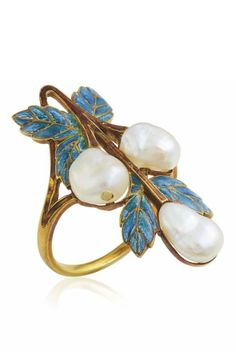 GEORGES FOUQUET - AN ART NOUVEAU PEARL AND ENAMEL RING, CIRCA 1900. Designed as a baroque pearl and window enamel foliage, with brown enamel stem, with French assay mark for gold. Signed G. Fouquet, numbered, with maker's mark for Georges Fouquet. #GoldJewelleryArtNouveau