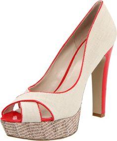 Very cute!  Love the red heel!  Nine West Women's Colourcode Peep-Toe Pump $75