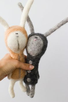 white felted hare free shipping by tutseetoy on Etsy, $85.00