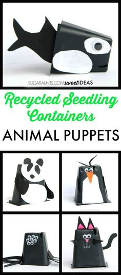 Recycled seedling container animal puppets craft: Spring crafts for kids Ocean Animal Crafts, Animal Crafts For Kids, Spring Crafts For Kids, Crafts For Kids To Make, Quick Crafts, Toddler Crafts, Spring Activities, Craft Activities For Kids, Animal Activities