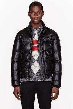 GIVENCHY Black LEATHER & DOWN quilted JACKET